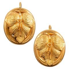 Golden Victorian Grape Leaf Earrings in Antique Box