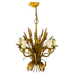 Golden Wheat Sheaf Pendant Lamp by Hans Kögl, Germany, 1970s