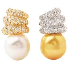 Golden White Southsea 18 Karat Diamond Gold Clip-On Earrings