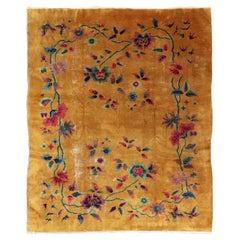 Golden Yellow Background Chinese Art Deco Rug with All-Over Vining Flowers