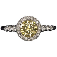 Golden Yellow Diamond Solitaire Ring