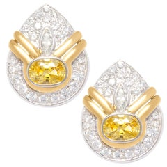 Golden Yellow Sapphire and Diamond Clip-On Earrings