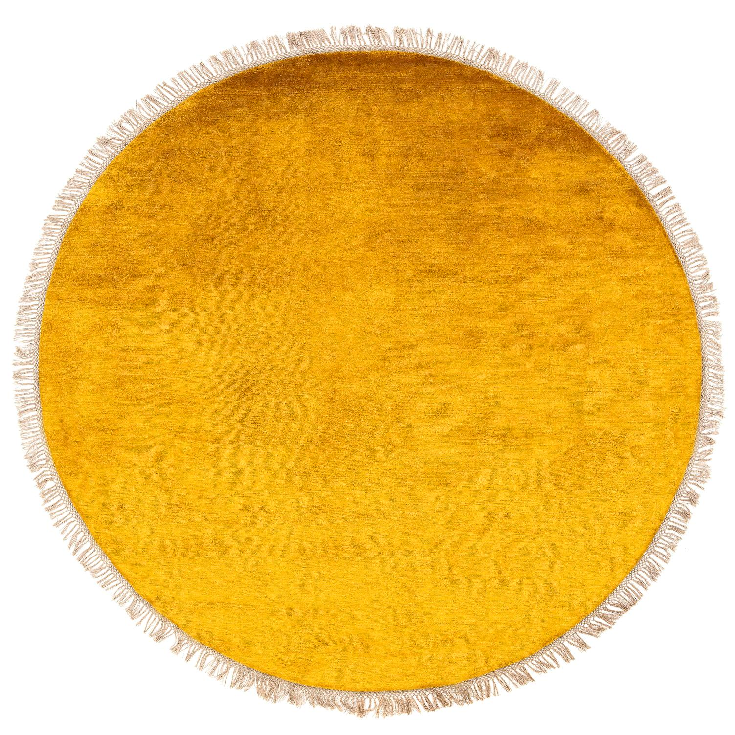 Golden Yellow Solid Silk Round Area Rug with Wild Nettle Fringe