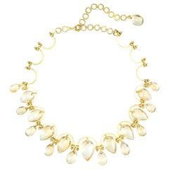 Golden Yellow Topaz Necklace Vintage Statement Choker 18k Gold Estate Jewelry