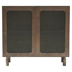 Goldenhour Handmade Bar Cabinet with Woven Leather Doors by Laylo Studio