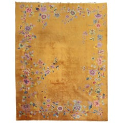 Goldenrod Art Deco Chinese Room Size Rug, 20th Century