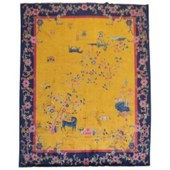 Golden Rod Pictorial Animal Chinese Art Deco Rug