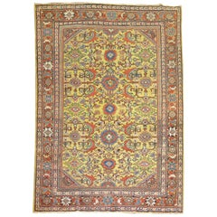 Goldenrod Traditional Antique Persian Mahal Rug