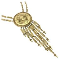 Goldette 1960s Vintage Art Noveau Inspired Medallion Necklace