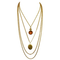 Goldette Gold Plated Multi Strand Locket and Cameo Pendant Necklace circa 1960s