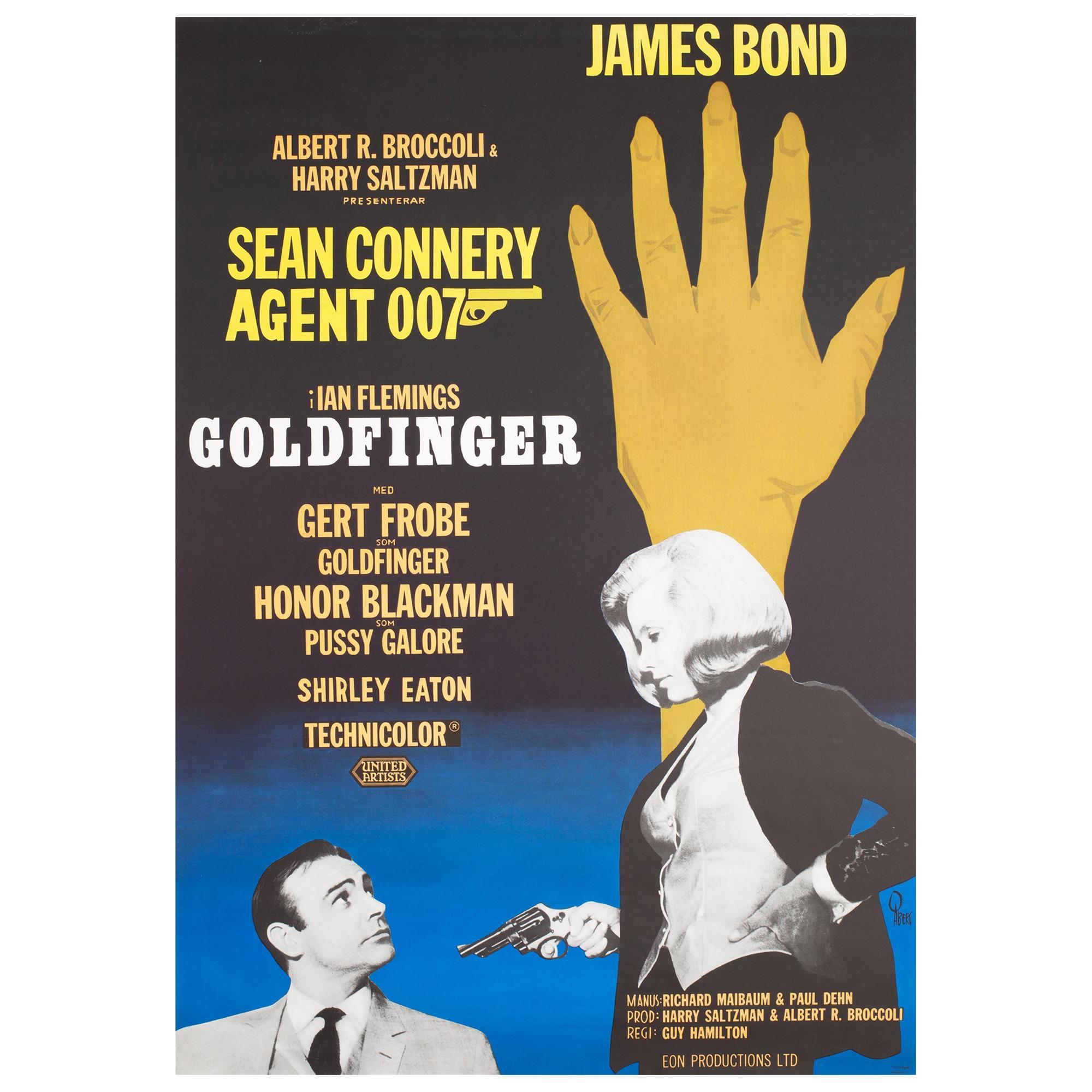 Goldfinger R1967 Swedish James Bond Film Poster, Aberg