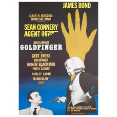 Goldfinger R1967 Swedish James Bond Film Poster, Aberg