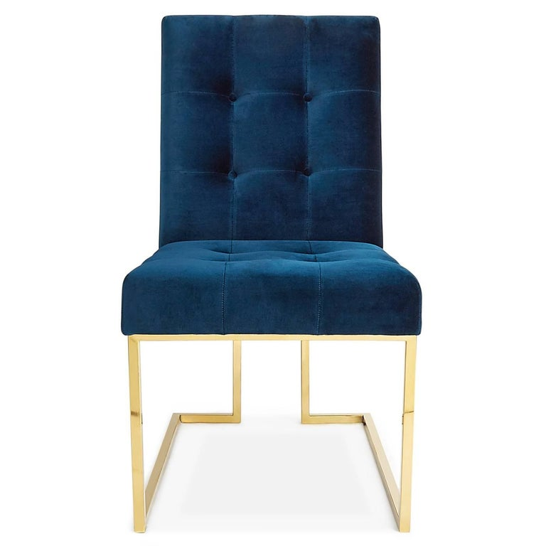 Minimalist comfort. Pared down geometry in polished brass meets Rialto navy velvet in our Goldfinger collection. A little bit, 1970s, a lot today. Goldfinger is the winning ticket that adds modernist rigor to your Park Ave pad or swanks up your