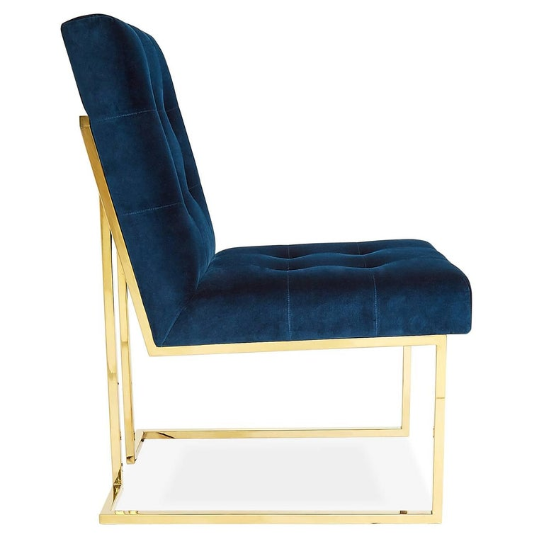 Goldfinger Velvet and Brass Dining Chair For Sale at 1stdibs