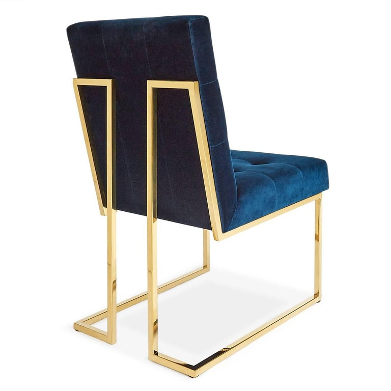American Goldfinger Velvet and Brass Dining Chair For Sale