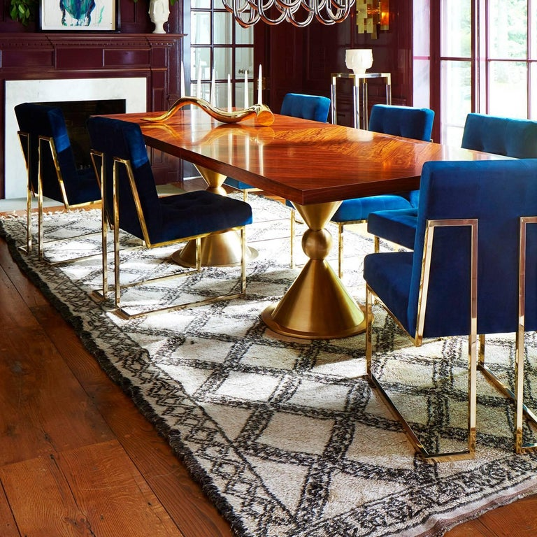 Plated Goldfinger Velvet and Brass Dining Chair For Sale