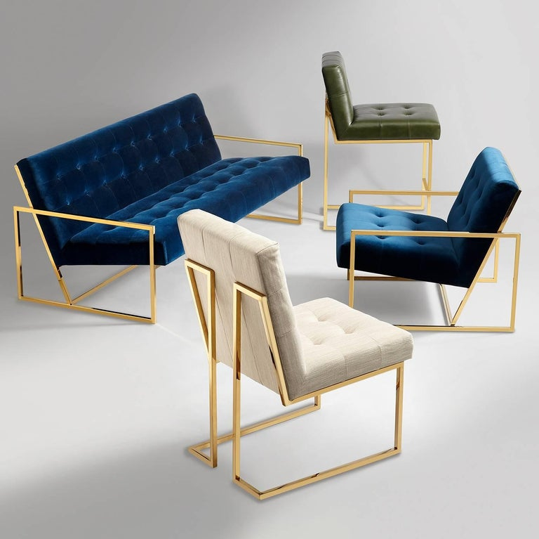 Goldfinger Velvet and Brass Dining Chair In New Condition For Sale In New York, NY