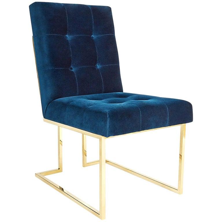 Goldfinger Velvet and Brass Dining Chair For Sale