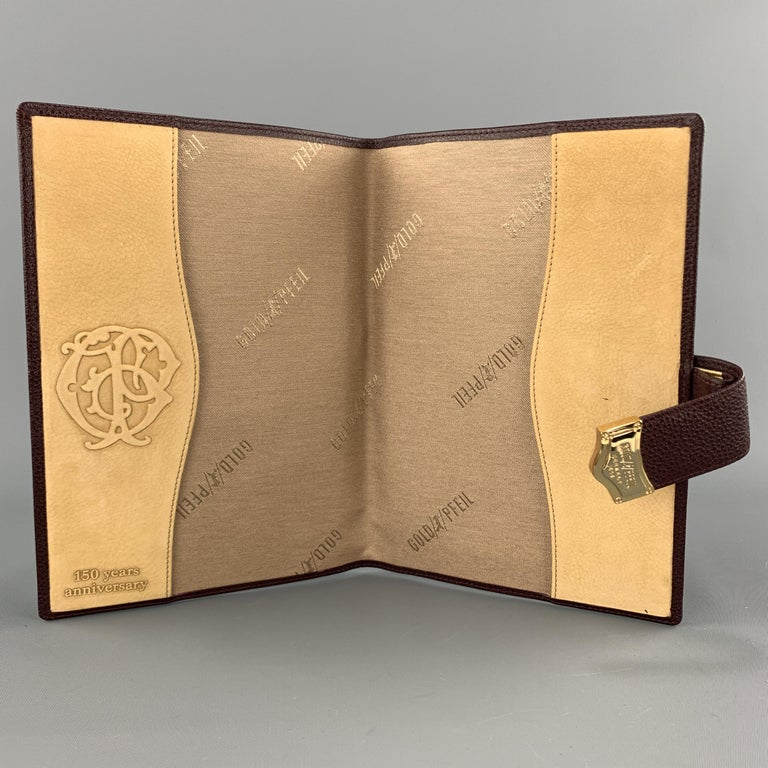 GOLDPFEIL Burgundy Leather Book Cover Case In Good Condition For Sale In San Francisco, CA