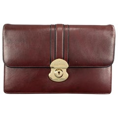 GOLDPFEIL Solid Burgundy Leather Mini Briefcase Clutch Bag