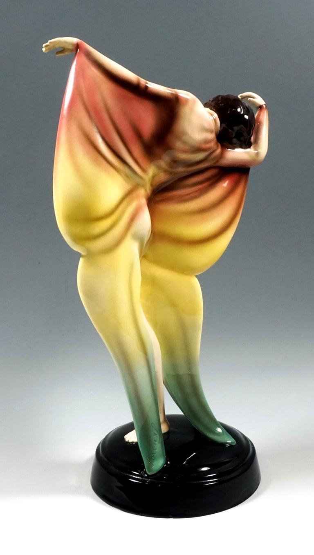 Art Deco Goldscheider Art Déco Dancer in Butterfly Dress by Josef Lorenzl, circa 1930 For Sale