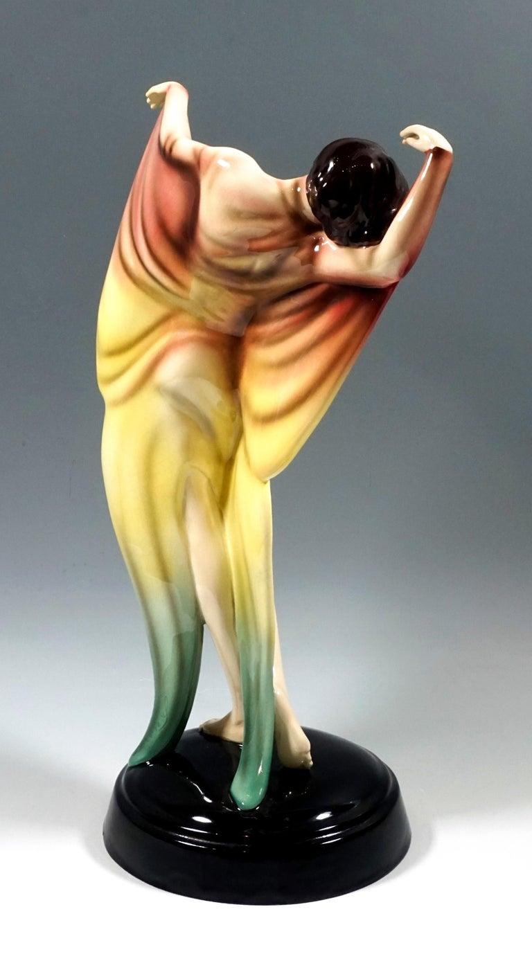 Austrian Goldscheider Art Déco Dancer in Butterfly Dress by Josef Lorenzl, circa 1930 For Sale