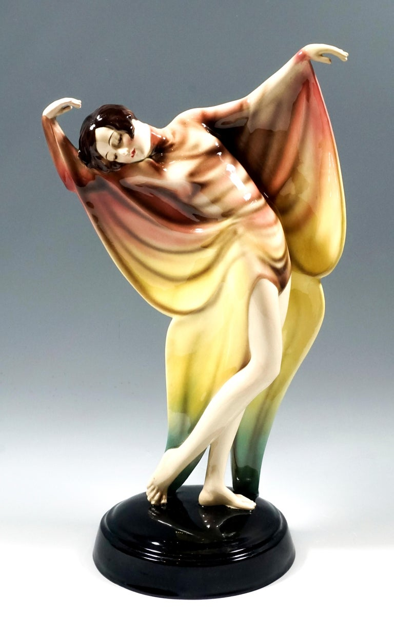 Hand-Crafted Goldscheider Art Déco Dancer in Butterfly Dress by Josef Lorenzl, circa 1930 For Sale