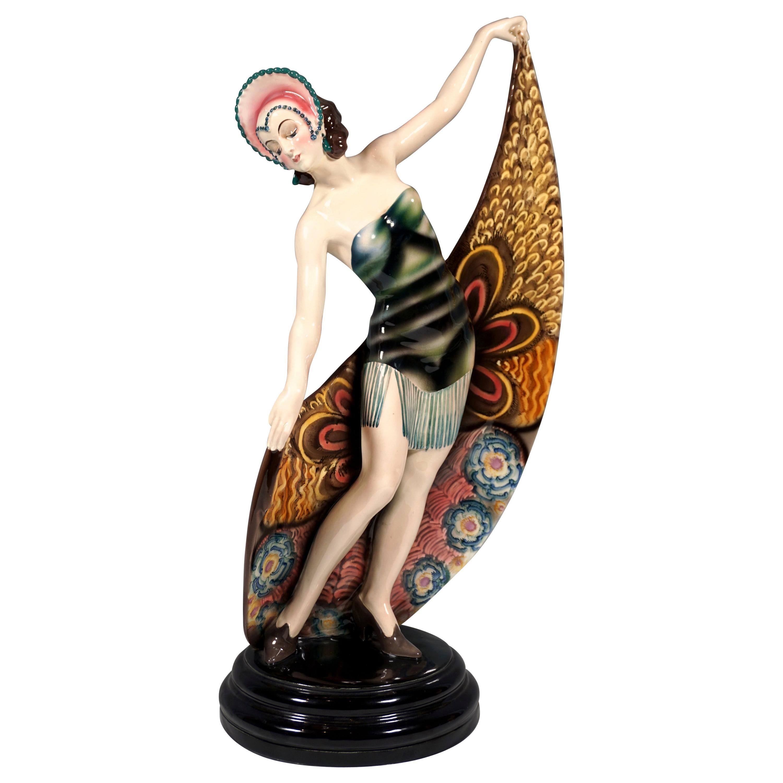 Goldscheider Art Deco Dancer with Headgear and Scarf by Josef Lorenzl, ca. 1925
