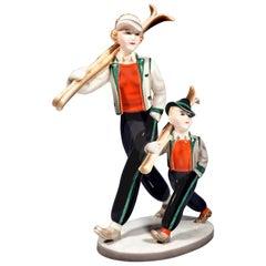 Goldscheider Art Déco Figure Group of Skiers 'TYROL' by Stephan Dakon circa 1938