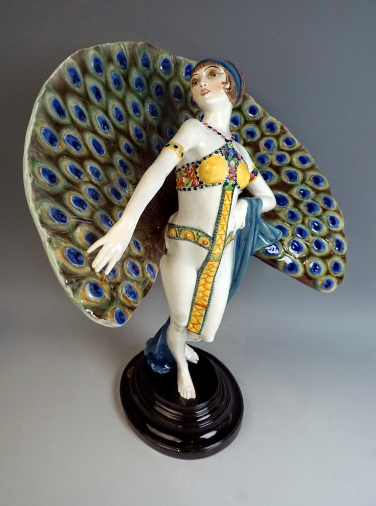 Austrian Goldscheider Art Deco Figure 'Lady Dancer in Peacock Costume' by Paul Philippe