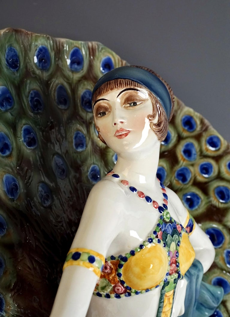Hand-Crafted Goldscheider Art Deco Figure 'Lady Dancer in Peacock Costume' by Paul Philippe