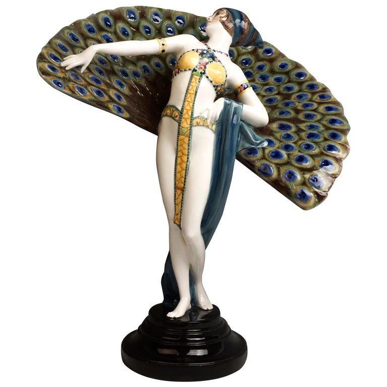 Goldscheider Art Deco Figure 'Lady Dancer in Peacock Costume' by Paul Philippe