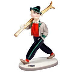 Goldscheider Art Deco Figure 'Skiboy - Tyrol Small' by Stephan Dakon, circa 1938