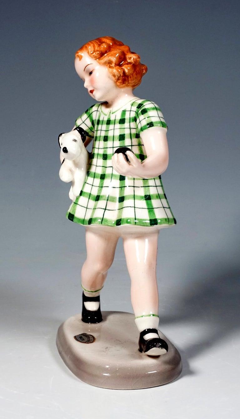 Austrian Goldscheider Art Déco Figurine Girl with Dog by Adolf Prischl, Vienna, ca 1938 For Sale