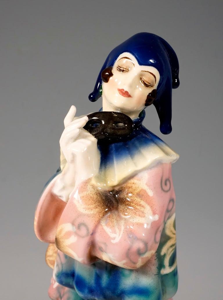 Early 20th Century Goldscheider Art Deco Figurine 'Pierrette' by Dakon & Lorenzl, circa 1925 For Sale