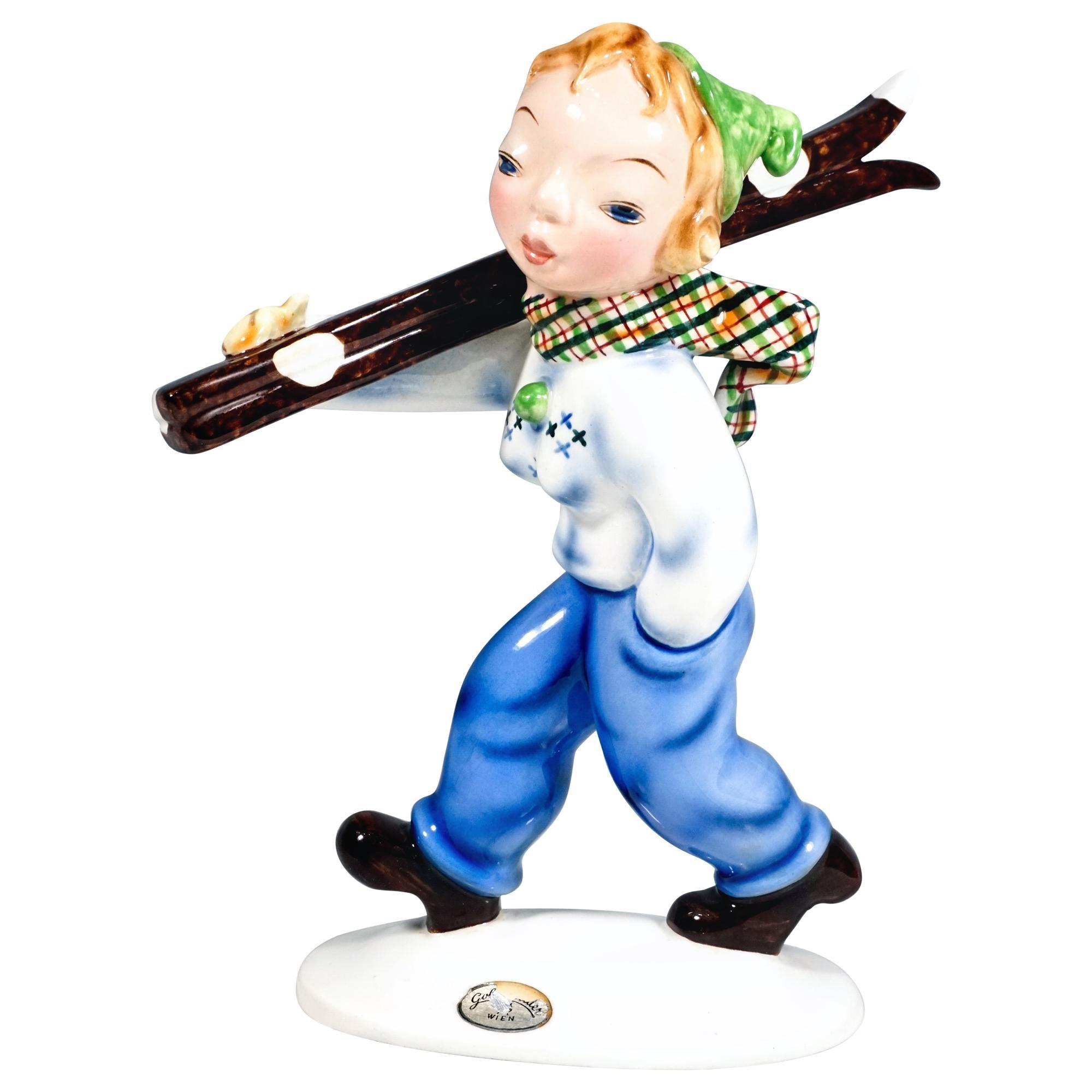 Goldscheider Art Deco Figurine 'Skier' by Kurt Goebel, Vienna, circa 1936