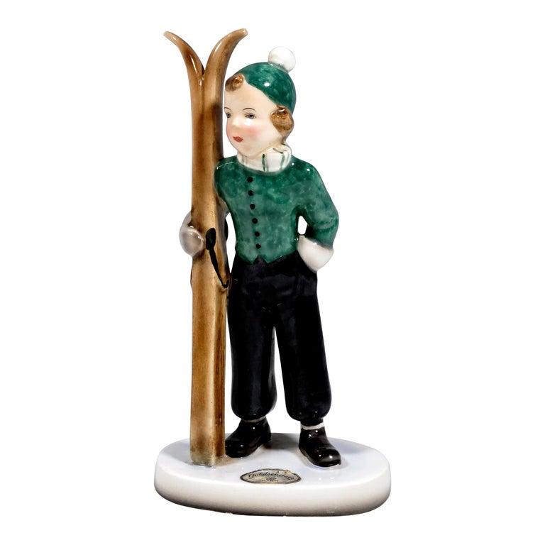 Goldscheider Art Déco Figurine 'Skigirl' by Stephan Dakon, ca 1936 For Sale