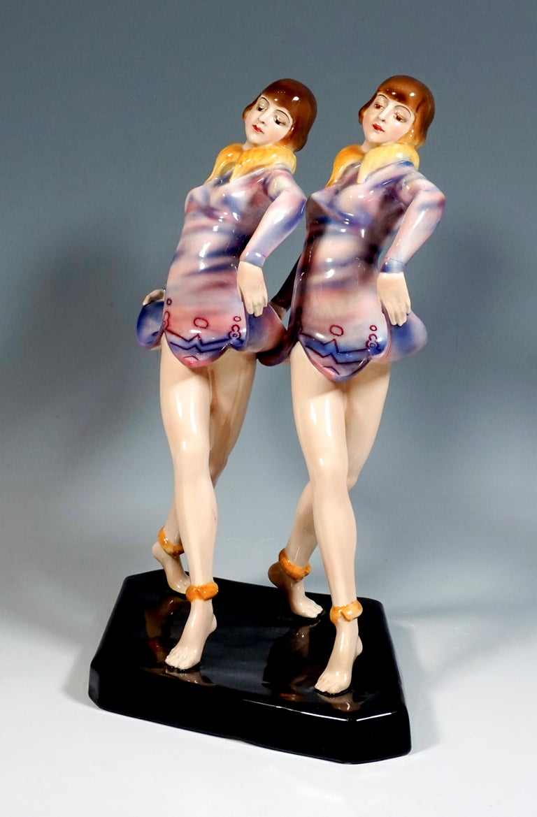 Mid-20th Century Goldscheider Art Deco Group 'Revue', the 'Dolly Sisters', by Stephan Dakon For Sale