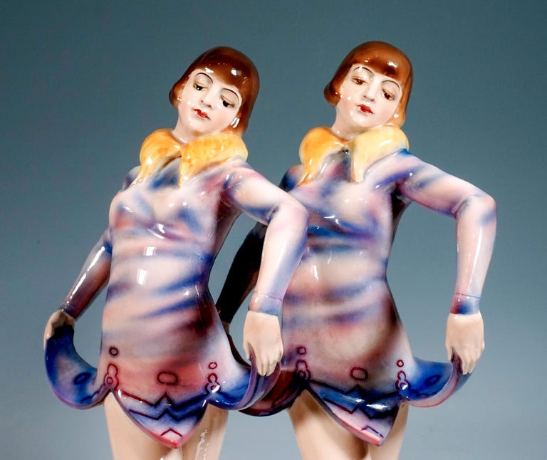 Ceramic Goldscheider Art Deco Group 'Revue', the 'Dolly Sisters', by Stephan Dakon For Sale