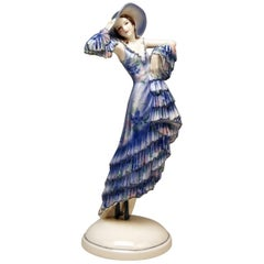Goldscheider Art Deco Lady with Large Hat by Josef Lorenzl Model 6229