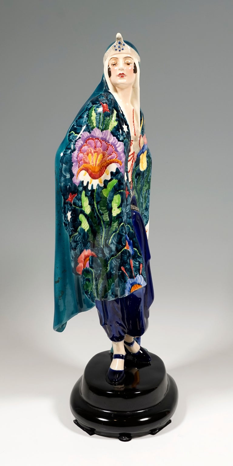 Hand-Painted Goldscheider Art Deco Odalisque 'Aida', by Josef Lorenzl, Around 1925 For Sale