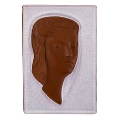 Goldscheider Art Deco Relief in Glazed Ceramics with Woman's Face, Austria, 1950