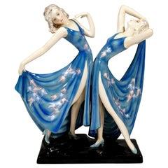 Goldscheider Art Déco Twin Dancers 'Dolly Sisters', by Stephan Dakon, ca 1937