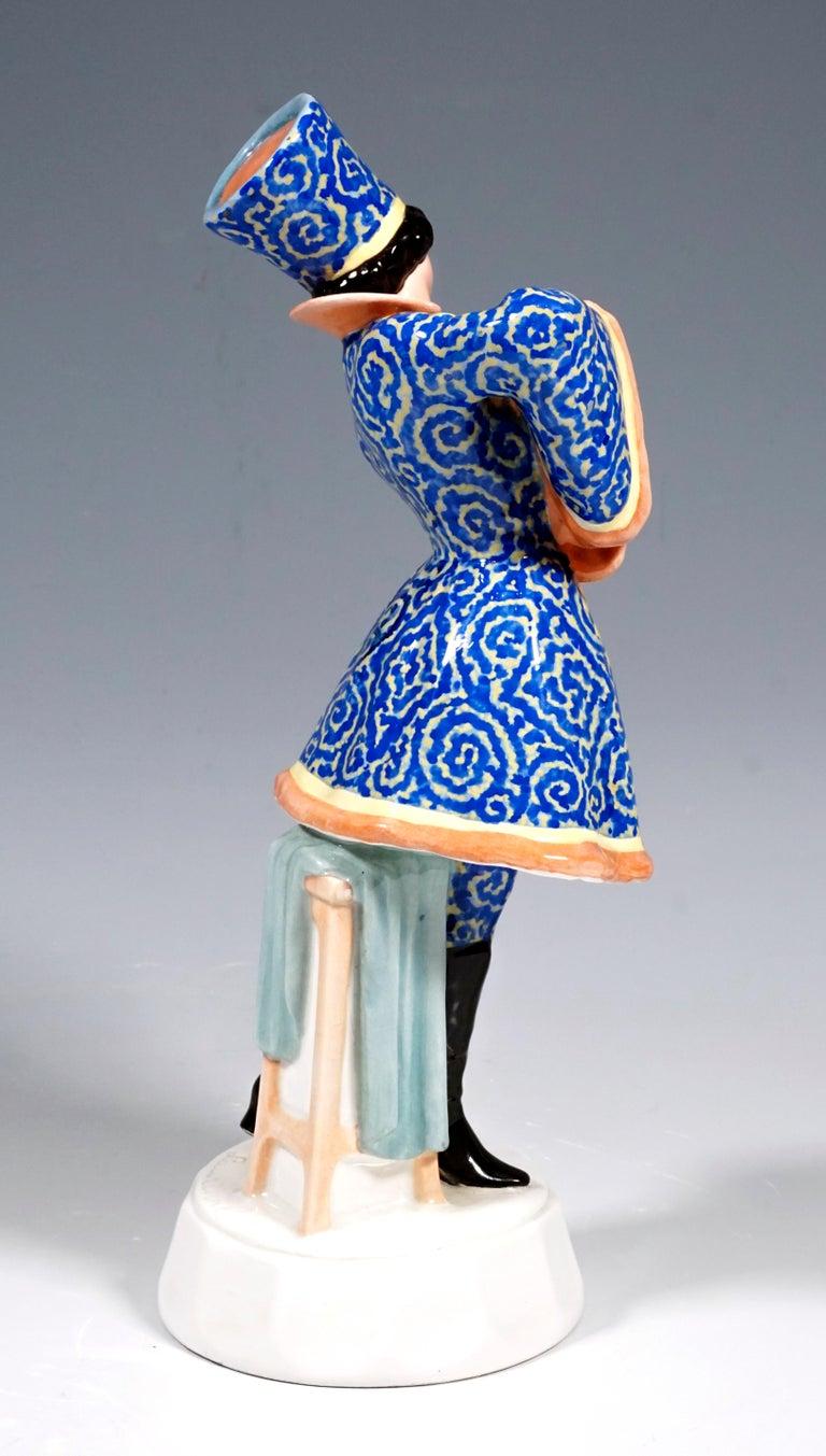 Art Deco Goldscheider Figurine Lady Dancer in Russian Costume by Josef Lorenzl circa 1925 For Sale