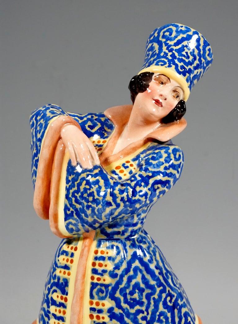 Hand-Crafted Goldscheider Figurine Lady Dancer in Russian Costume by Josef Lorenzl circa 1925 For Sale