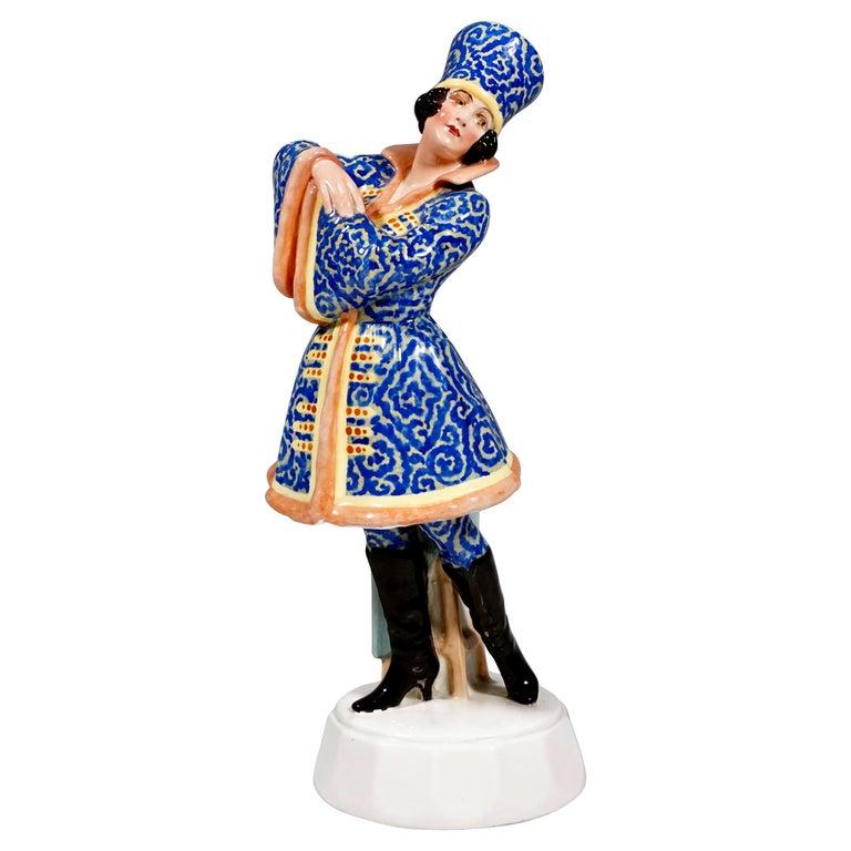 Goldscheider Figurine Lady Dancer in Russian Costume by Josef Lorenzl circa 1925 For Sale