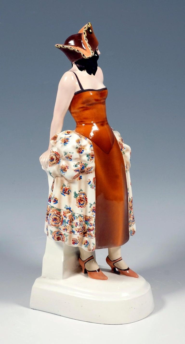 Art Deco Goldscheider Figurine Lady In Carnival Costume With Tricorn, Lorenzl, ca 1925 For Sale