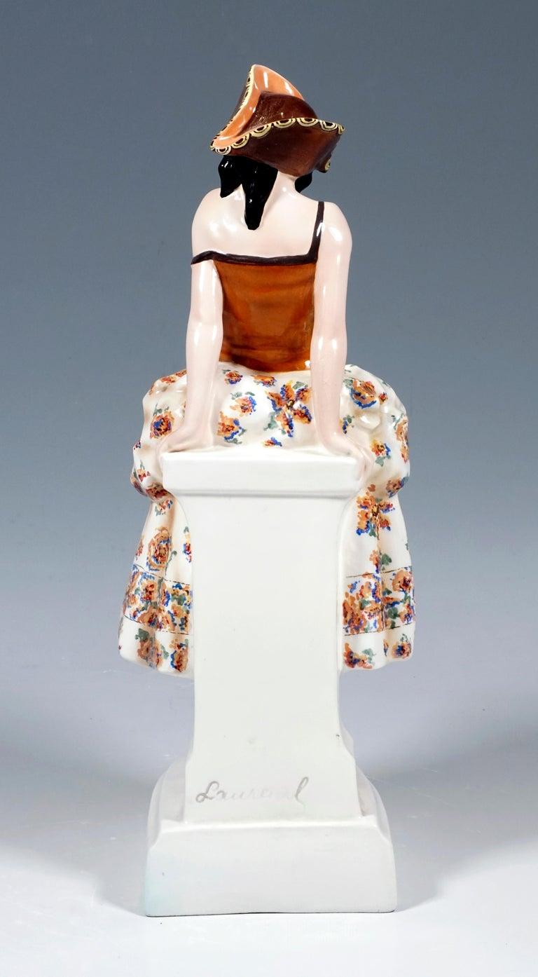 Austrian Goldscheider Figurine Lady In Carnival Costume With Tricorn, Lorenzl, ca 1925 For Sale