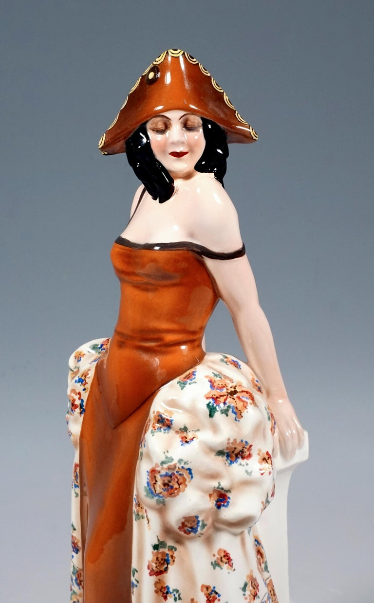 Hand-Crafted Goldscheider Figurine Lady In Carnival Costume With Tricorn, Lorenzl, ca 1925 For Sale