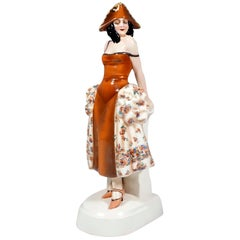 Goldscheider Figurine Lady In Carnival Costume With Tricorn, Lorenzl, ca 1925
